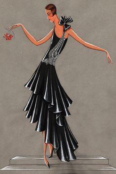 Jeanne Lanvin, Evening gown illustration 'Bel oiseau', 1928 Picture credit: Patrimoine Lanvin