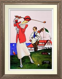 Vintage 1917 Golf - Art On Canvas Print. Woman golfer. 1917 illustration reproduced on premium canvas. One for the golfer's wall http://www.zazzle.com/vintage_1917_golf_art_on_canvas_print-228719460128614271 #golf #WomensGolf #print #art