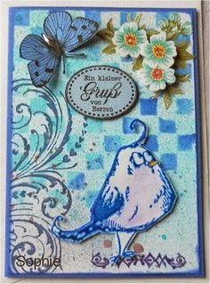 Sophie's Art: Crazy Bird - in Delfter Blau