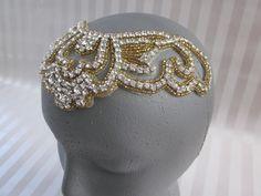 Beaded Rhinestone Halo Headpiece Gatsby by allforLOVEbyGina