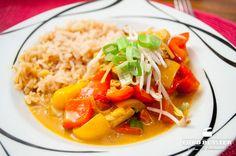 Rezept für leckeres Hähnchencurry mit Reis