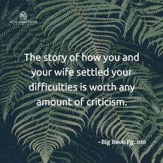 The story of how you and your wife settled your difficulties is worth any amount of criticism. #BigBook Pg100