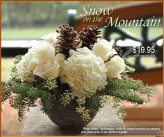 Winter Flower Arrangement   Snow on the Mountain - Oberer's Flowers, Dayton/Cincinnati/Columbus Florists  Wonder if I could DIY with faux flowers / greenery