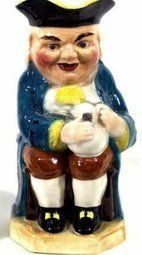 "The piece pictured here is a ""Toby."" The first Toby jug was said to have been made in the mid to late 18th century. The first type typically depicted a ""Toby Fillpot"" character in late 18th century attire, such as a tricorner hat, breech-coat and buckled shoes. - See more at: http://blog.valuethisnow.com/posts/burlingtonware-toby-jug#sthash.KlSTIeDm.dpuf"