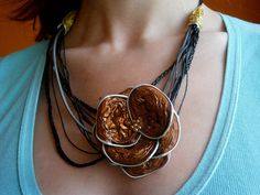 Flower necklace from recycled aluminum