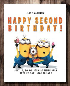 Despicable Me Birthday Party Invitation Card by CelebrationCity, $10.00 Celebration City, Birthday Party Invitations, Birthday Parties, Despicable Me, Invitation Cards, Minions, Holiday Cards, Handmade Gifts, Etsy