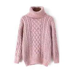 Turtleneck Cable Knit Pink Sweater featuring polyvore, fashion, clothing, tops, sweaters, pink, cable sweater, cable turtleneck sweater, loose turtleneck sweater, long sleeve pullover sweater and loose sweater