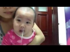 Simple way clean baby's nose when the baby gets rhinitis - YouTube