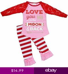 e5c30221e383 Baby Girls 2 Piece Lace Sleeved Apple of my Eye Valentines Day Outfit Outfit