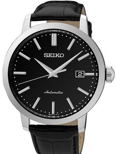 Seiko SRPA27 automatic dress watch comes with a 42mm case with a leather strap. It features a Seiko 23-jewel self winding movement, and an exhibition back.