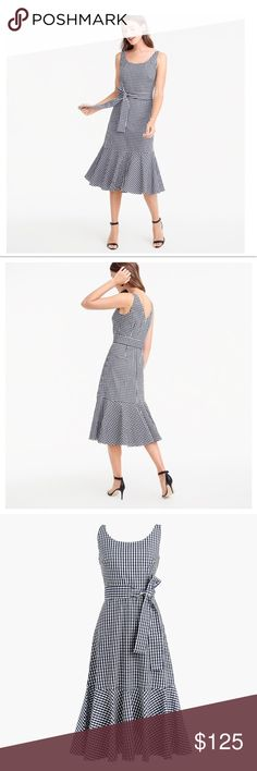🆕 JCrew Gingham Ruffle-Hem Dress NWT- Gingham and Ruffles ... need I say more. You will be ready for all your summer occasions with this beautiful navy and white gingham dress with V back and tie belt. Very special. Only reasonable offers considered. 🚫NO TRADES🚫  Thank you for stopping my closet 🛍💕 J. Crew Dresses Midi
