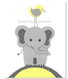 Yellow and Gray Nursery Elephant Nursery by SweetPeaNurseryArt