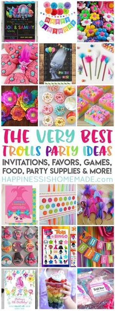 Planning a Trolls Birthday Party? We've got you covered with the best Trolls Party Ideas party supplies favors invitations decorations games Trolls Birthday Party, Troll Party, Birthday Party Games, 4th Birthday Parties, Birthday Party Decorations, Girl Birthday, 2nd Birthday Party Ideas, Food Decorations, Princess Poppy Birthday Party