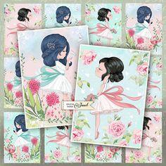 Cute Girls  pastel tags  digital collage sheet  set of 6