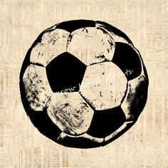 Antique Soccer Ball Artwork Sports Soccer by SparrowHousePrints, $12.00