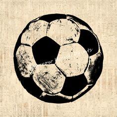 Antique Soccer Ball Artwork Sports Soccer by SparrowHousePrints, $12.00
