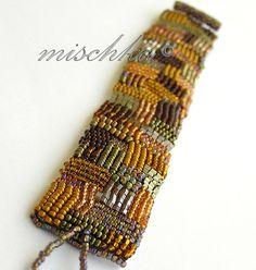 Mosaic Bracelet | Flickr - Photo Sharing! Bead Embroidered Bracelet, Beaded Braclets, Embroidery Bracelets, Beaded Cuff Bracelet, Bead Loom Bracelets, Beaded Embroidery, Beaded Jewelry Designs, Seed Bead Jewelry, Handmade Bracelets