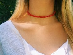 Red Beaded Choker - School Color Collection Soft, bright red 6mm beads strung on silver wire, finished off with a toggle clasp (color may appear slightly different in person, due to lighting).  Show off your school spirit in this super cute, red choker! Its the perfect accessory for any school sporting event!!  In addition, each choker can be worn as a double wrap bracelet.*  Available in nine sizes: 12, 12.5, 13, 13.5, 14, 14.5, 15, 15.5 & 16. PLEASE CONTACT ME if you have questions about…