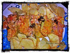 Οι λιχουδιές της Μαριφάνης: Κολοκυθάκια με σάλτσα φέτας στο φούρνο Ratatouille, Vegetarian, Meat, Chicken, Ethnic Recipes, Blog, Blogging, Buffalo Chicken, Rooster