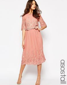 Image 1 of ASOS TALL PREMIUM Midi Embroidered Dress