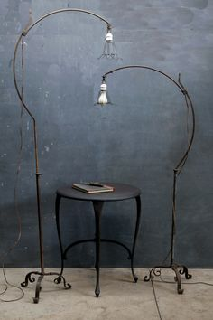 Hand forged industrial bronze floor lamps by Roycroft Arts & Crafts  #forged_iron #floorlamp #interiordesign