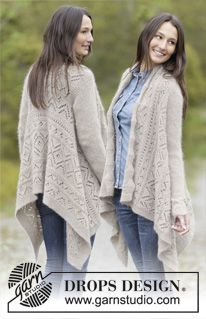 """Knitted DROPS jacket worked in a square in garter st with lace pattern, worked top down in """"Alpaca"""" and """"Kid-Silk"""". Size: S - XXXL. ~ DROPS Design"""