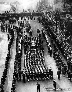The Funeral procession of King George VI leaving Horse Guards Parade on the way to Paddington Station. 15th February 1952.
