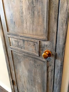 We changed a basic white hollow door into this cool rustic layered look with a little flat moulding and a rustic layered paint finish and our customers love it! a step by step: rustic furniture rustic furniture rustic furniture Rustic Doors, Wooden Doors, Slab Doors, Distressed Doors, Distressed Painting, Faux Painting, Chalk Painting, Chalk Paint Furniture, Look Vintage
