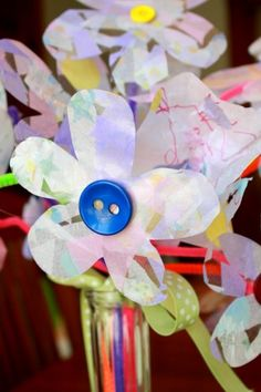 A spring craft - Tissue Paper Flowers with contact paper