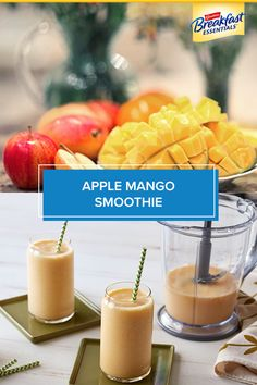 Get ready for spring with a tropical smoothie bursting with fruit flavors. The Apple Mango Smoothie is a refreshing, easy way to shake off the winter and take a trip to the tropics. Click VISIT link to read Smoothie Drinks, Healthy Smoothies, Healthy Drinks, Smoothie Recipes, Healthy Snacks, Healthy Recipes, Healthy Nutrition, Paraguay Food, Hungary Food
