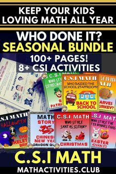Whether it's back to school season, Christmas, halloween, or Easter, you can make teaching math to your students fun with these CSI math activities/worksheets. These CSI math activities will engage your elementary or middle school students throughout the