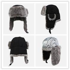 4a270fffb59 Rabbit Fur ushanka hat for men winter outdoor ski black bomber hats