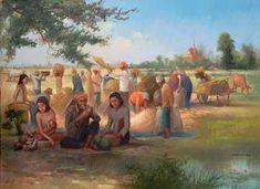 คลังรูป ภ.ภาพวาด: วิถีชีวิตชาวบ้าน Village Scene Drawing, Watercolor Art Landscape, Thailand Art, Thai Art, Culture, Cartoon, Drawings, Illustration, Painting