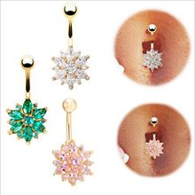 3 Colors Flower Cubic Zirconia Navel Bar Barbell Body Piercing Belly Button Ring Women 3 Colors(China (Mainland))