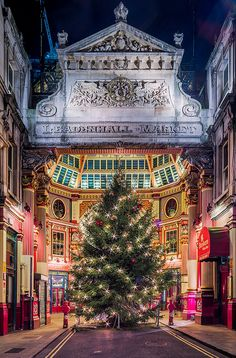 Leadenhall Market at Christmas time. One of the oldest markets in London, dating back to the 14th century, and is located in the historic centre of the City of London.