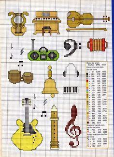 instrumentais musicais ponto cruz  Schema punto croce Strumenti Musicali 30