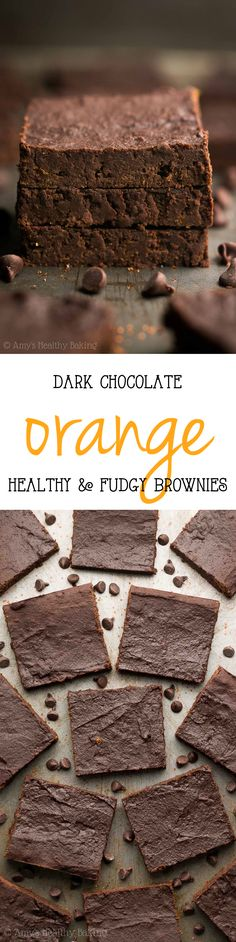 Healthy Fudgy Dark Chocolate Orange Brownies -- SO rich & only 75 calories! The best recipe you'll ever make! {Bonus: They're SO easy!}