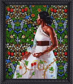 "Kehinde Wiley's First Series of Black Women's Portraits-  Mrs. Siddons, 2012 Oil on linen 72"" x 60"""