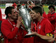 Six years ago today, Liverpool Football Club celebrated one of the greatest nights in their history as they defied all the odds to secure a fifth European Cup in Istanbul. Here are some great snaps of the post-match celebrations at the Ataturk to savour. Champions League 2005, Liverpool Champions, Liverpool Football Club, Liverpool Fc, Liverpool Legends, Istanbul, Stevie G, Newcastle United Fc, This Is Anfield