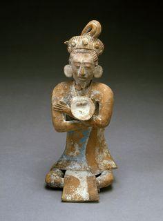 Seated male figure.  Maya, ca. 600-900