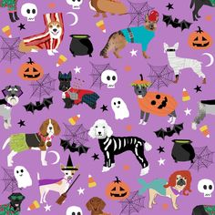 dogs in halloween costumes - dog breeds dressed up fabric - purple fabric by petfriendly on Spoonflower - custom fabric