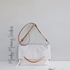 Vintage Style Cotton Ticking Messenger Bag by MondayMorningStudios