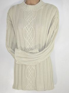 2d0a33834da LAURA ASHLEY Vintage Ecru Cotton Cable Ribbed Knit Aran Country Style Jumper    Sweater