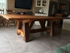 Solid hardwood dining table made from 150+ year old red oak barnwood. The wood comes from barns that have been torn down in Lancaster County. Own a piece of history. Table is hand made and each result is different based on the characteristics on the wood being used. This is a solid farmhouse table that can be used for generations to come. This design uses all techniques of the past to give you an authentic feel to your dining room. Picture shows finish in Danish oil but will take request on…