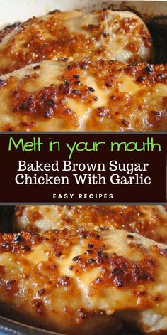 Easy Recipes Baked Brown Sugar Chicken With Garlic Easy Baked Chicken, Good Baked Chicken Recipes, Recipes With Chicken Breast Easy, Baked Chicken Seasoning, Chicken Breats Recipes, Easy Chicken Fillet Recipes, Crockpot Boneless Chicken Recipes, Easy Chicken Dishes, Crockpot Chicken Wings