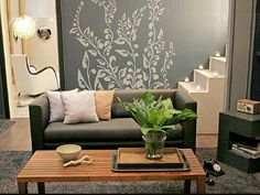 Verde gris y crema Home Decoracion, Love Seat, Couch, Furniture, Larger, Gray, Ideas, Arrow, Living Room Pictures