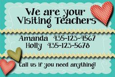 visiting teaching calling cards