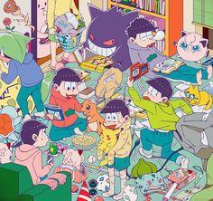 Osomatsu-san x Pokemon Anime Crossover, Best Crossover, All Anime, Anime Guys, Manga Anime, Otaku, Osomatsu San Doujinshi, Pokemon, Ichimatsu