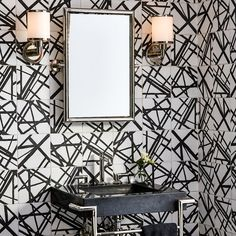 Maven by Kelly Wearstler ceramic tile with dry-line pattern, in Solstice I, Solstice II, and Solstice III pattern (wall backsplash),  Kallista Pinna Paletta by Laura Kirar console table and basin set (plumbing), Kallista Vir Stil by Laura Kirar (mirror/lighting).
