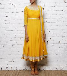 Yellow Georgette and Net Anarkali Suit